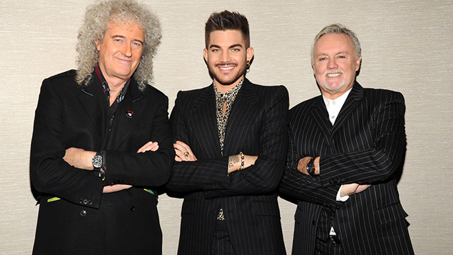 NEW YORK, NY - MARCH 06: (Exclusive Coverage) Brian May, Adam Lambert and Roger Taylor backstage before their Queen (Brian May and Roger Taylor) + Adam Lambert North American tour announcement at Madison Square Garden on March 6, 2014 in New York City. The tour kicks off on June 19, 2014 in Chicago. (Photo by Kevin Mazur/WireImage) *** Local Caption *** Brian May; Adam Lambert; Roger Taylor